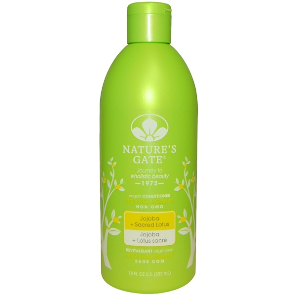 Nature's Gate, Conditioner, Revitalizing, Vegan, Jojoba + Sacred Lotus, 18 fl oz (532 ml) (Discontinued Item)