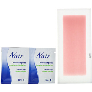 Nair , Hair Remover, Wax Ready-Strips, For Legs & Body, 40 Wax Strips + 6 Post Wipes