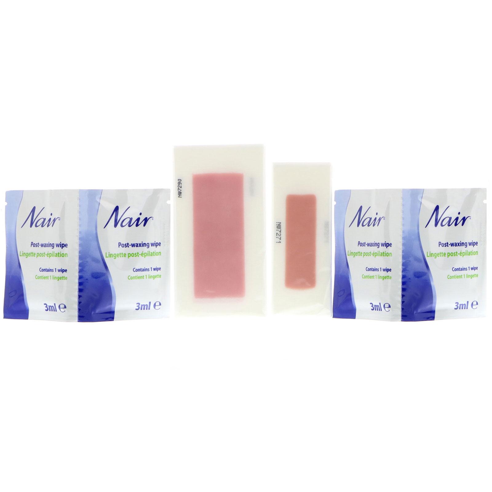 Nair Hair Remover Wax Ready Strips For Face Bikini 40 Wax Strips 4 Post Wipes Iherb