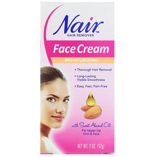 Nair, Hair Remover, Moisturizing Face Cream, For Upper Lip, Chin and Face, 2 oz (57 g)