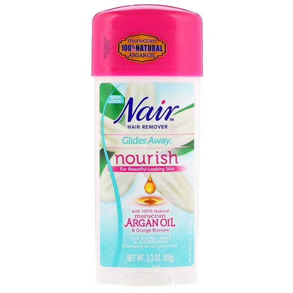 Nair , Hair Remover Cream, Glides Away, Nourish, With 100% Natural Moroccan Argan Oil & Orange Blossom, 3.3 oz (93 g)
