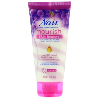 Nair , Hair Remover Cream, Nourish, Skin Renewal, For Face, 3 oz (85 g)