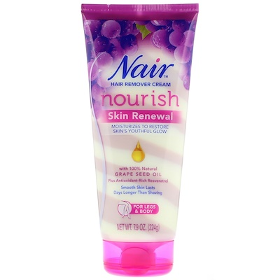 Nair Hair Remover Cream, Nourish, Skin Renewal With Grape Seed Oil For Legs & Body, 7.9 oz (224 g)