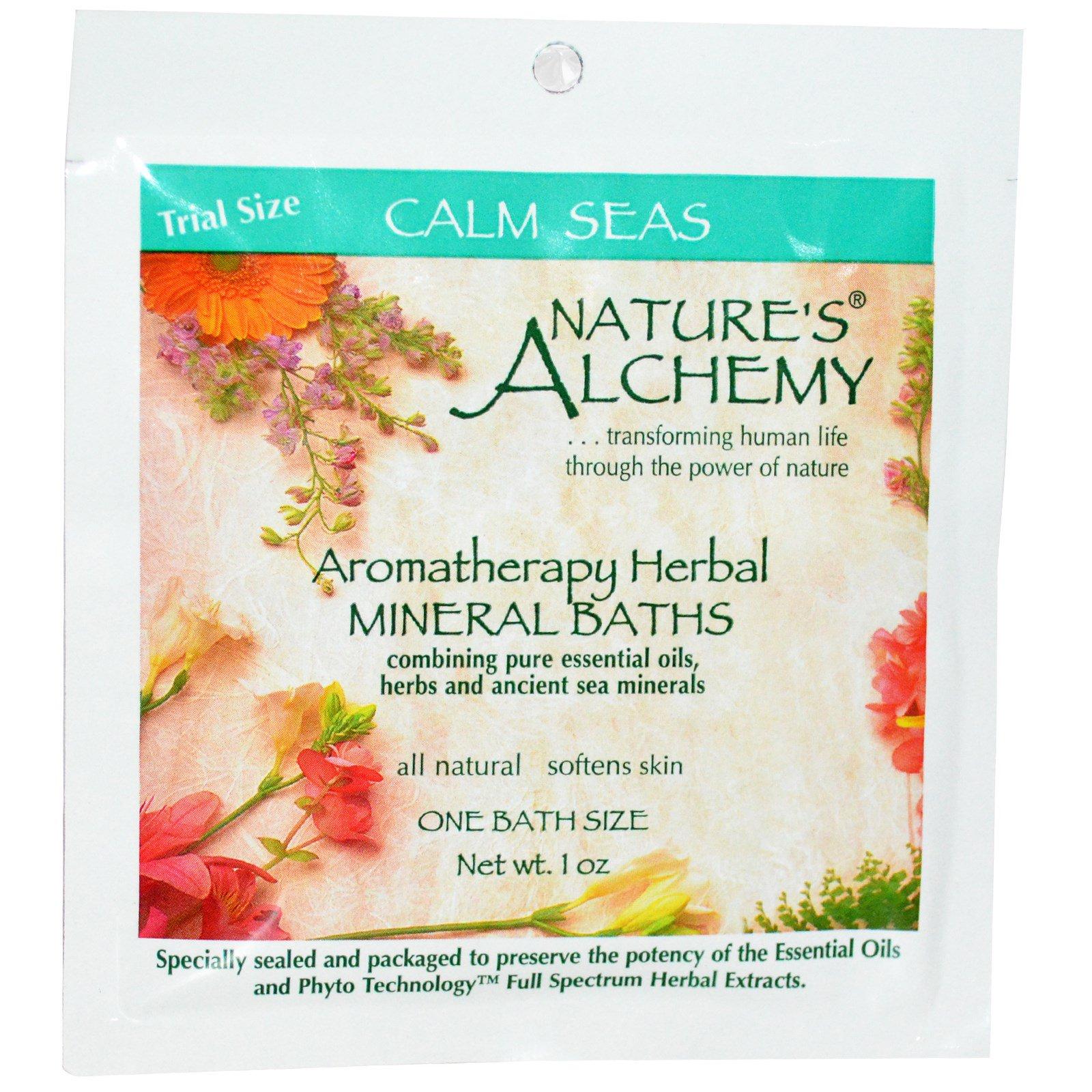 """Nature's Alchemy, Ароматерапевтические травяные минеральные ванны, """"Спокойные Моря"""", пробник, 1 oz (~30 мл)"""