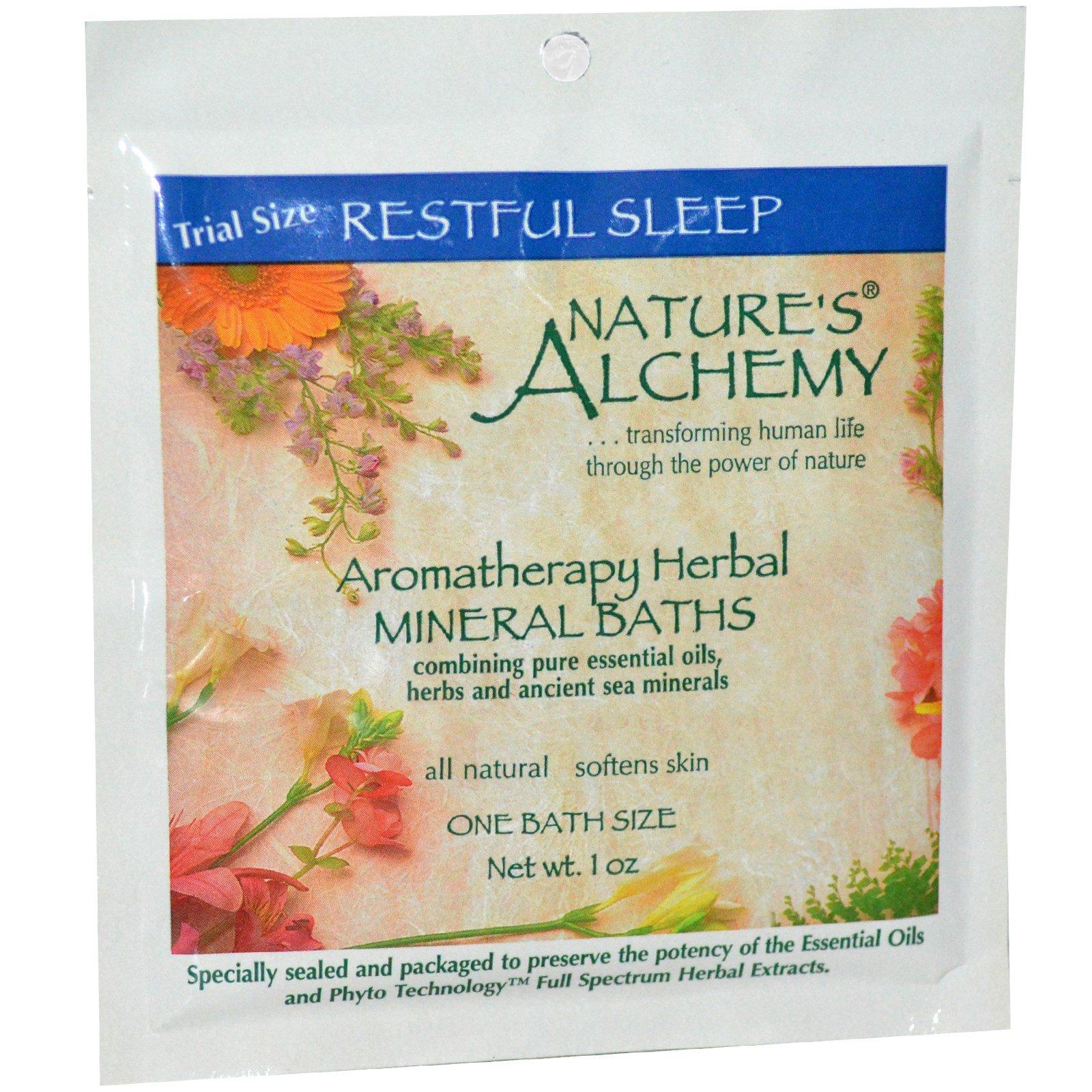 """Nature's Alchemy, Ароматерапевтические травяные минеральные ванны, """"Безмятежный сон"""", пробник, 1 oz (~30 мл)"""