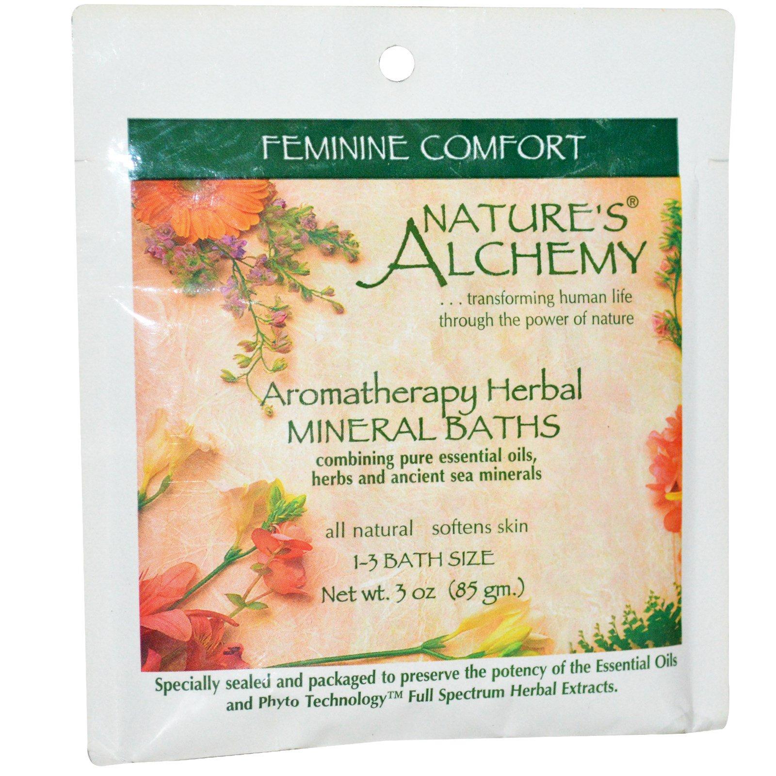 """Nature's Alchemy, Ароматерапевтические травяные минеральные ванны """"Женский комфорт"""", 3 унции (85 г)"""