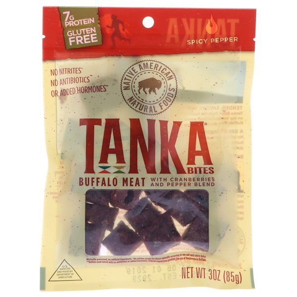 Tanka, Bites, Buffalo Meat with Cranberries and Pepper Blend, Spicy Pepper, 30 oz (85 g) (Discontinued Item)