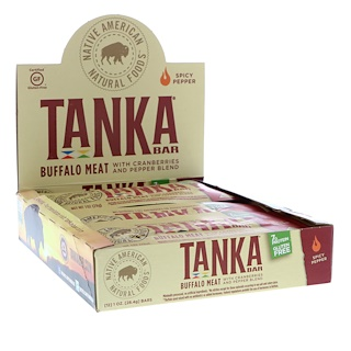 Tanka, Bar, Buffalo Meat with Cranberries and Pepper Blend, Spicy Pepper, 12 Bars, 1 oz (28.4 g) Each