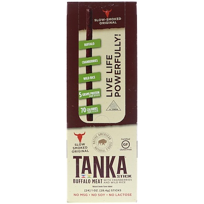 Tanka Stick, Buffalo Meat with Cranberries and Wild Rice, 24 Sticks, 1 oz (28.4 g) Each