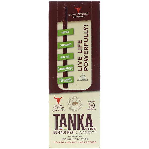 Tanka, Stick, Buffalo Meat with Cranberries and Wild Rice, 24 Sticks, 1 oz (28、4 g) Each