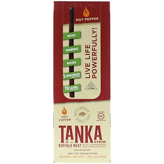 Tanka, Stick, Buffalo Meat with Cranberries and Pepper Blend, Hot Pepper, 24 Sticks, 1 oz (28.4 g) Each