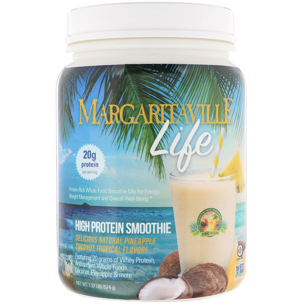 Nature's Plus, Margaritaville Life, High Protein Smoothie, Natural Pineapple Coconut Tropical Flavor, 1.27 lbs (574 g) (Discontinued Item)