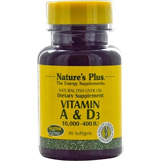 Nature's Plus, Vitamin A & D3, 10,000-400 IU, 90 Softgels