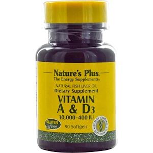 Натурес Плюс, Vitamin A & D3, 10,000-400 IU, 90 Softgels отзывы