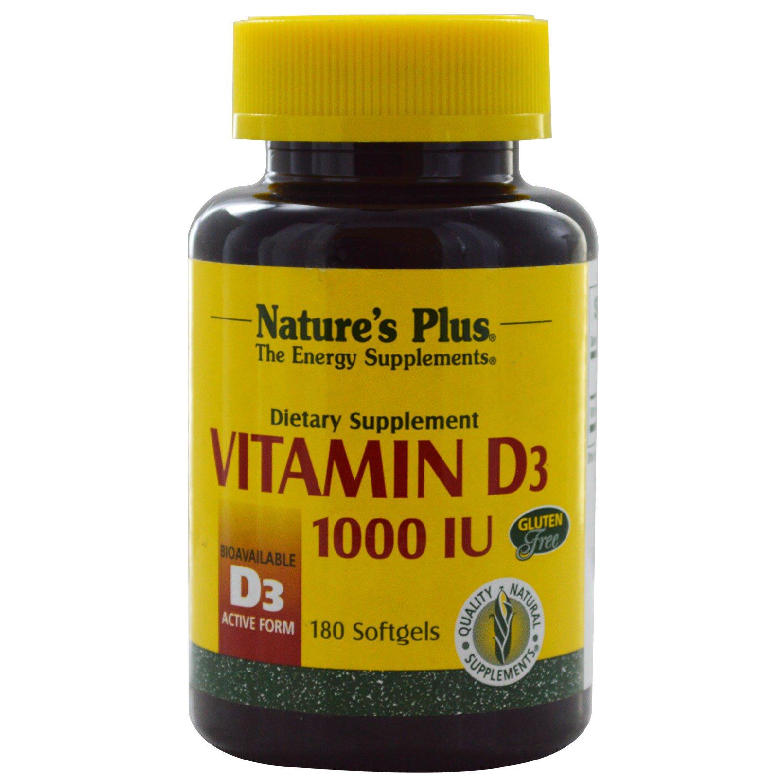 Nature's Plus, Витамин D3, 1000 МЕ, 180 гелевых капсул