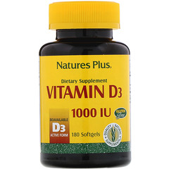 Nature's Plus, Vitamin D3, 1000 IU, 180 Softgels