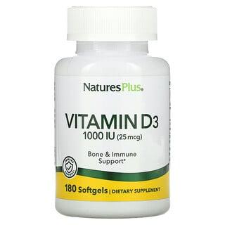Nature's Plus, Vitamin D3, 25 mcg (1,000 IU), 180 Softgels