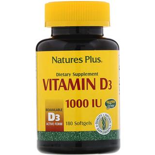 Nature's Plus, Vitamina D3, 1000 UI, 180 cápsulas blandas