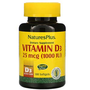 Натурес Плюс, Vitamin D3, 25 mcg (1,000 IU), 180 Softgels отзывы покупателей