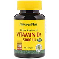 Витамин D3, 5000 МЕ, 60 мягких желатиновых капсул - фото