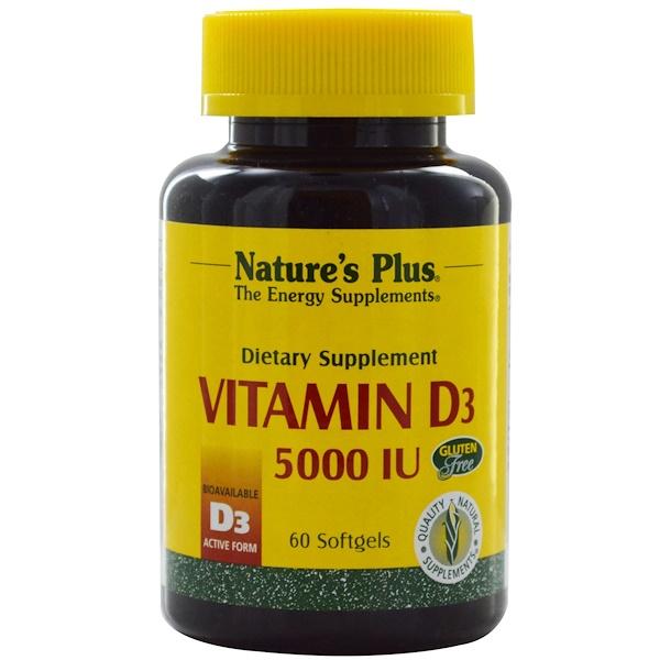 Nature's Plus, 維生素D3,5000國際單位,60軟膠囊