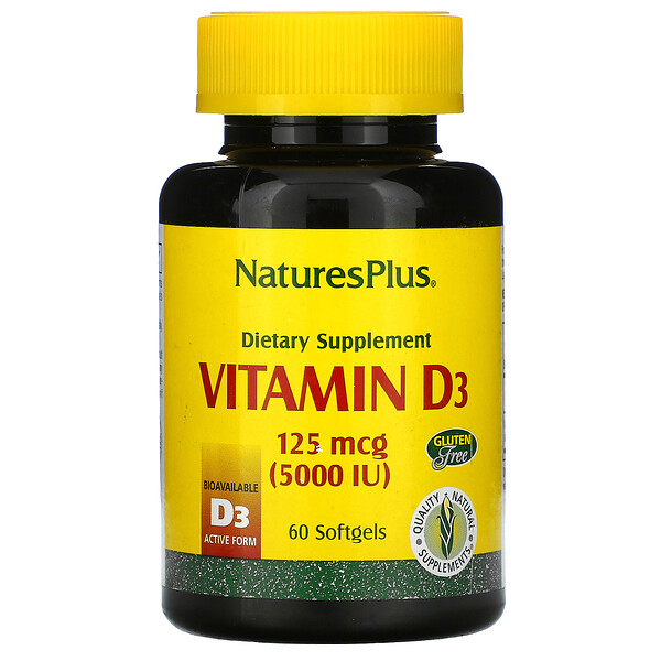 Nature's Plus, Vitamin D3, 125 mcg (5,000 IU), 60 Softgels