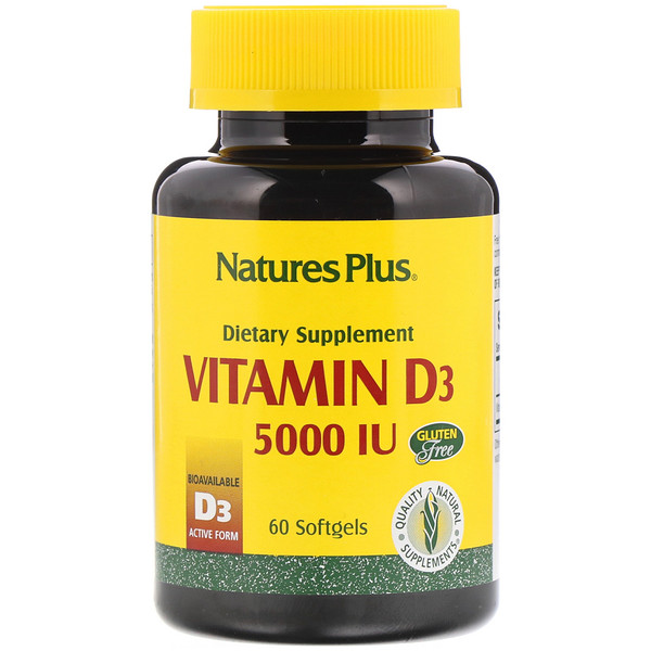 Nature's Plus, Vitamina D3, 5000 UI, 60 cápsulas