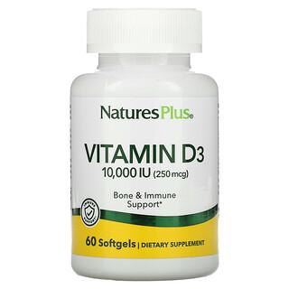 Nature's Plus, Vitamin D3, 10,000 IU (250 mcg), 60 Softgels