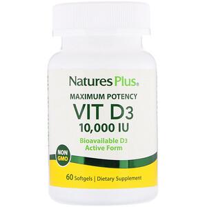 Натурес Плюс, Maximum Potency, Vit D3, 10,000 IU, 60 Softgels отзывы
