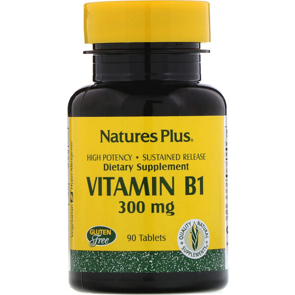 Nature's Plus, Vitamin B-1, 300 mg, 90 Tablets