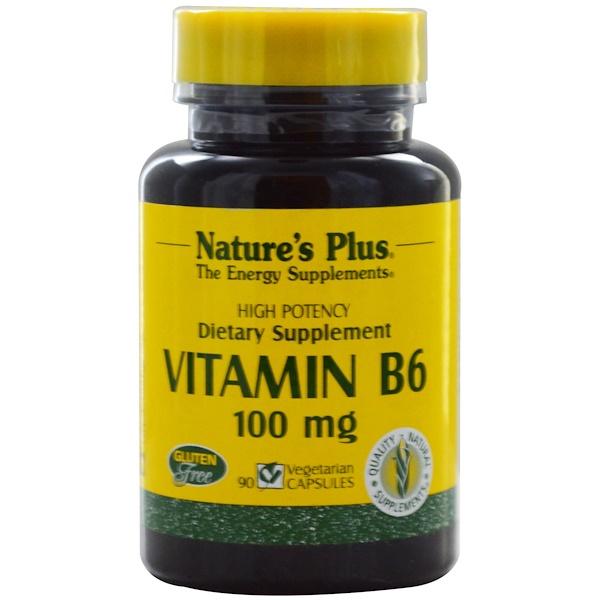 Nature's Plus, Vitamin B6, 100 mg, 90 Veggie Caps (Discontinued Item)