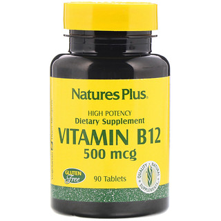 Nature's Plus, Vitamin B-12, 500 mcg, 90 Tablets