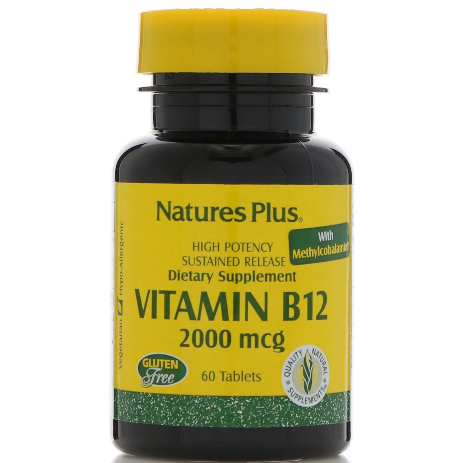 Nature's Plus, Витамин B-12, 2000 мкг, 60 таблеток