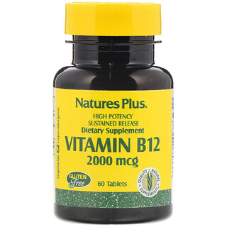 Nature's Plus, Vitamin B-12, 2000 mcg, 60 Tablets