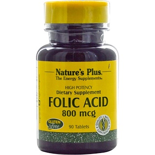 Nature's Plus, Folic Acid, 800 mcg, 90 Tablets
