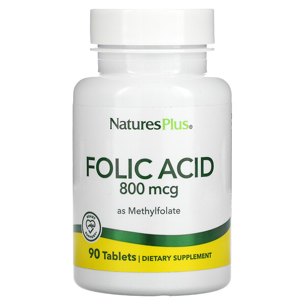 Nature's Plus, Folic Acid as Methylfolate , 800 mcg, 90 Tablets