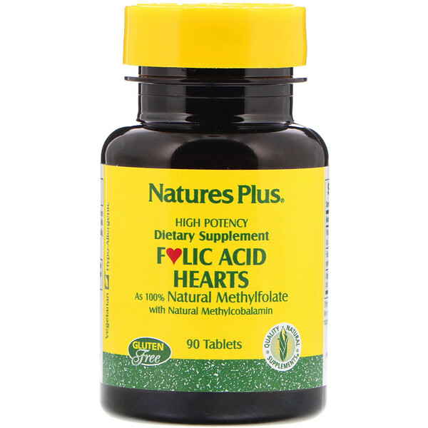 Nature's Plus, Folic Acid Hearts, 90 Tablets