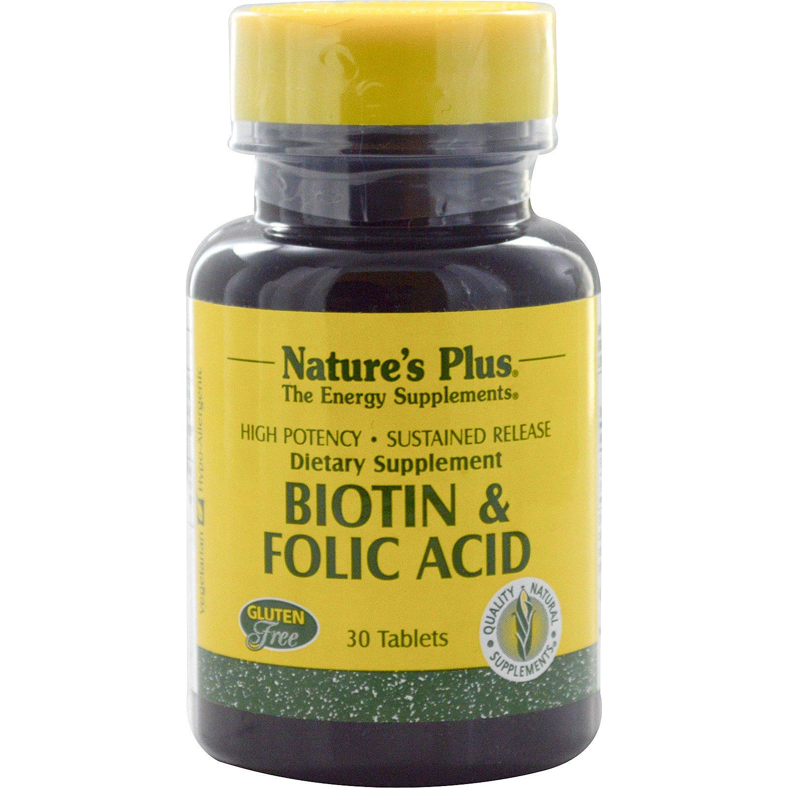Nature's Plus, Биотин и фолиевая кислота, 30 таблеток