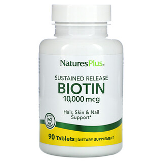 Nature's Plus, Biotin, Sustained Release, 10,000 mcg, 90 Tablets