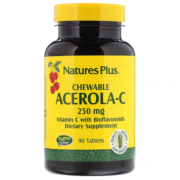 Nature's Plus, Acerola-C, Masticable, 250 mg, 90 comprimidos