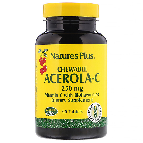 Nature's Plus, Acerola-C, Chewable, 250 mg, 90 Tablets