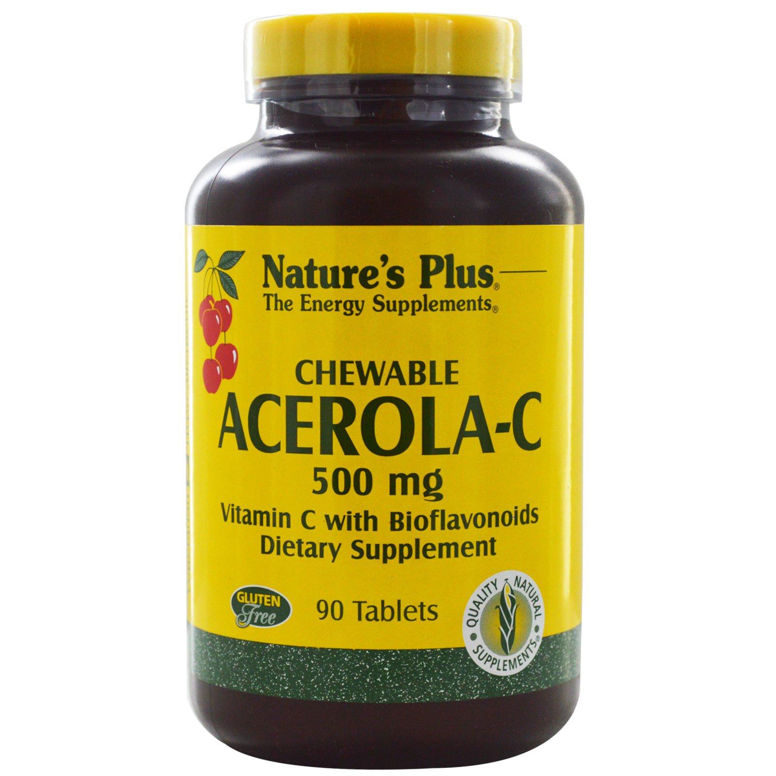 Nature's Plus, Жевательная барбадосская вишня-С, витамин С с биофлавоноидами, 90 таблеток