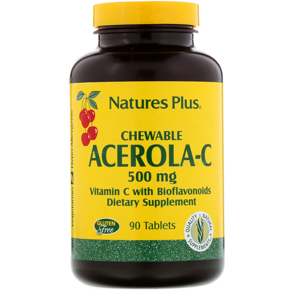 Chewable Acerola-C, Vitamin C with Bioflavonoids, 500 mg, 90 Tablets