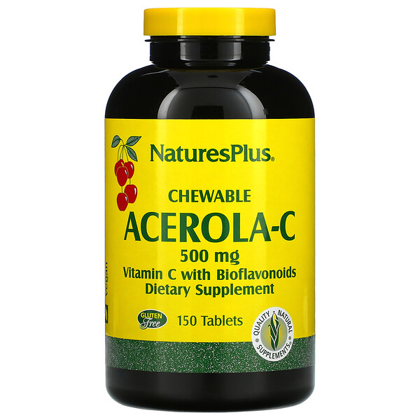 Chewable Acerola-C, Vitamin C with Bioflavonoids, 500 mg, 150 Tablets