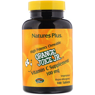 Nature's Plus, Orange Juice Jr., Vitamin C Supplement, 100 mg, 180 Tablets