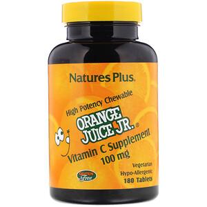 Натурес Плюс, Orange Juice Jr., Vitamin C Supplement, 100 mg, 180 Tablets отзывы покупателей