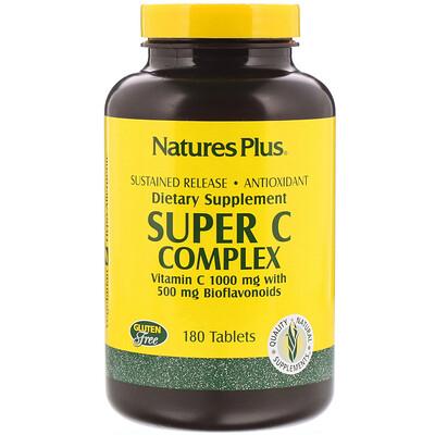 Супер комплекс витаминов С, 1000 мг витамина С с 500 мг биофлавоноидов, 180 таблеток комплекс био рутина 500 мг 500 мг 90 таблеток