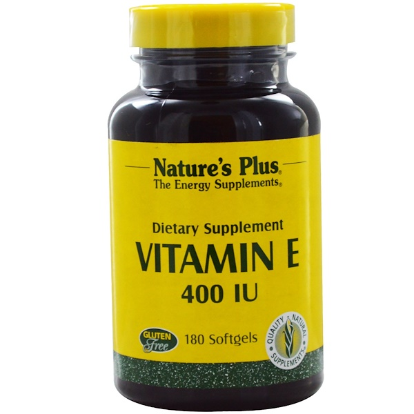 Nature's Plus, Vitamin E, 400 IU, 180 Softgels (Discontinued Item)