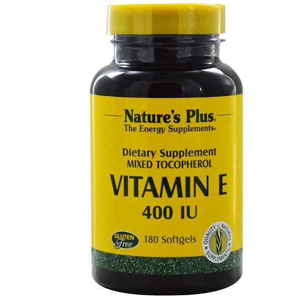 Nature's Plus, Витамин E, 400 МЕ, 180 гелевых капсул (Discontinued Item)