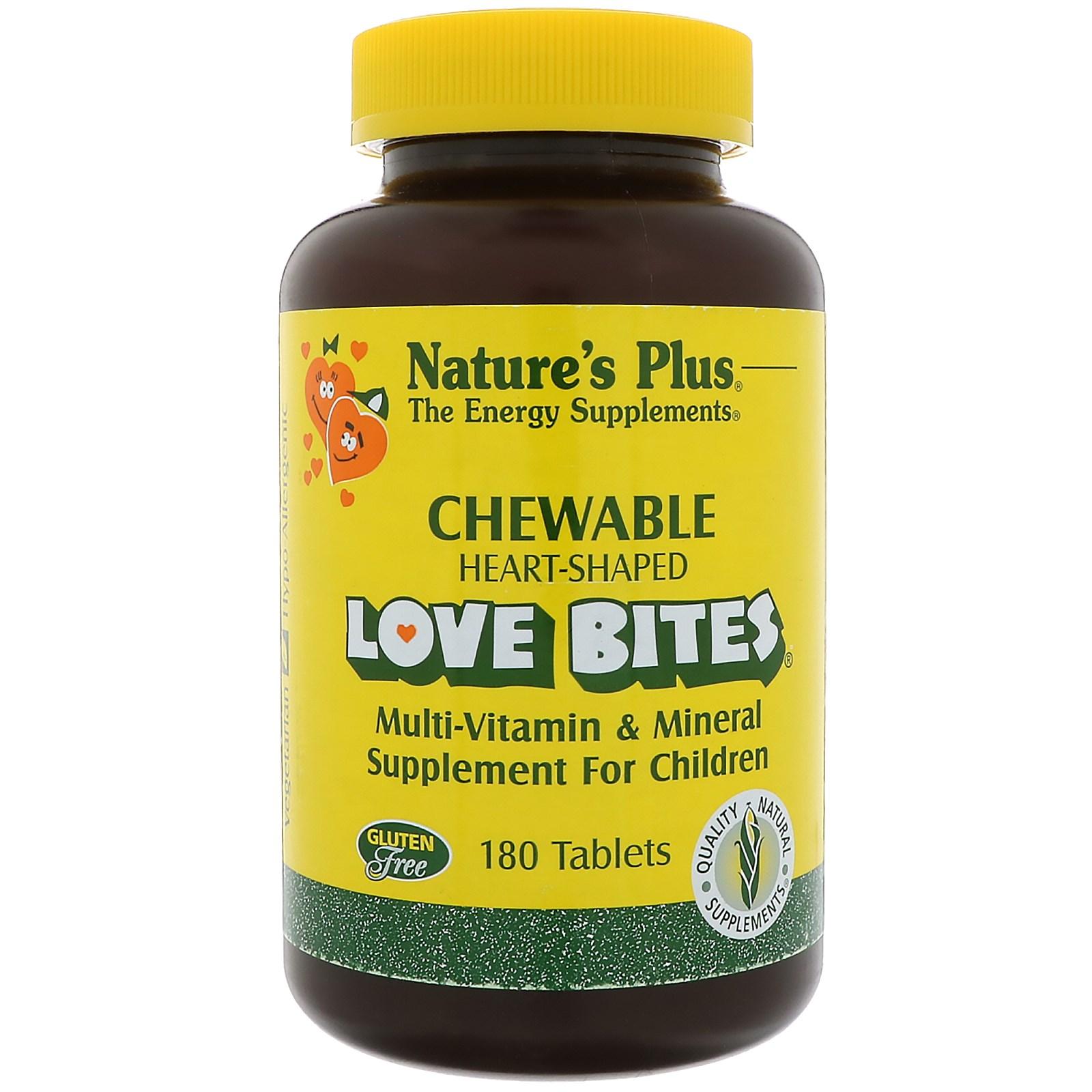 Nature's Plus, Добавка для детей с мультивитаминами и минералами Love Bites, 180 жевательных таблеток